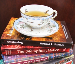 tea cup on books